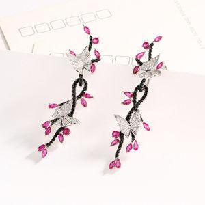 Penfine Jewelry - Butterfly Sterling Silver Drop Earrings for Women